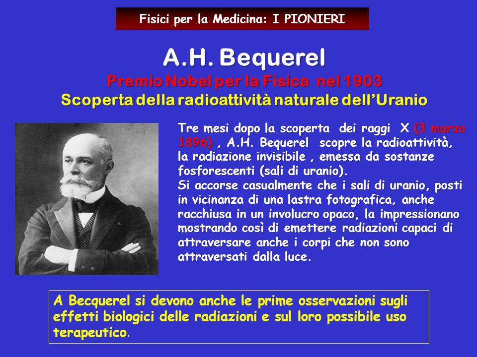 Tre mesi dopo la scoperta dei raggi X (3 marzo 1896), A.H. Bequerel scopre la radioattività, la radiazione invisibile, emessa da sostanze fosforescent