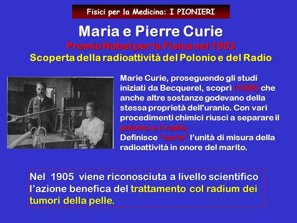 Marie Curie, proseguendo gli studi iniziati da Becquerel, scoprì (1898) che anche altre sostanze godevano della stessa proprietà dell'uranio. Con vari