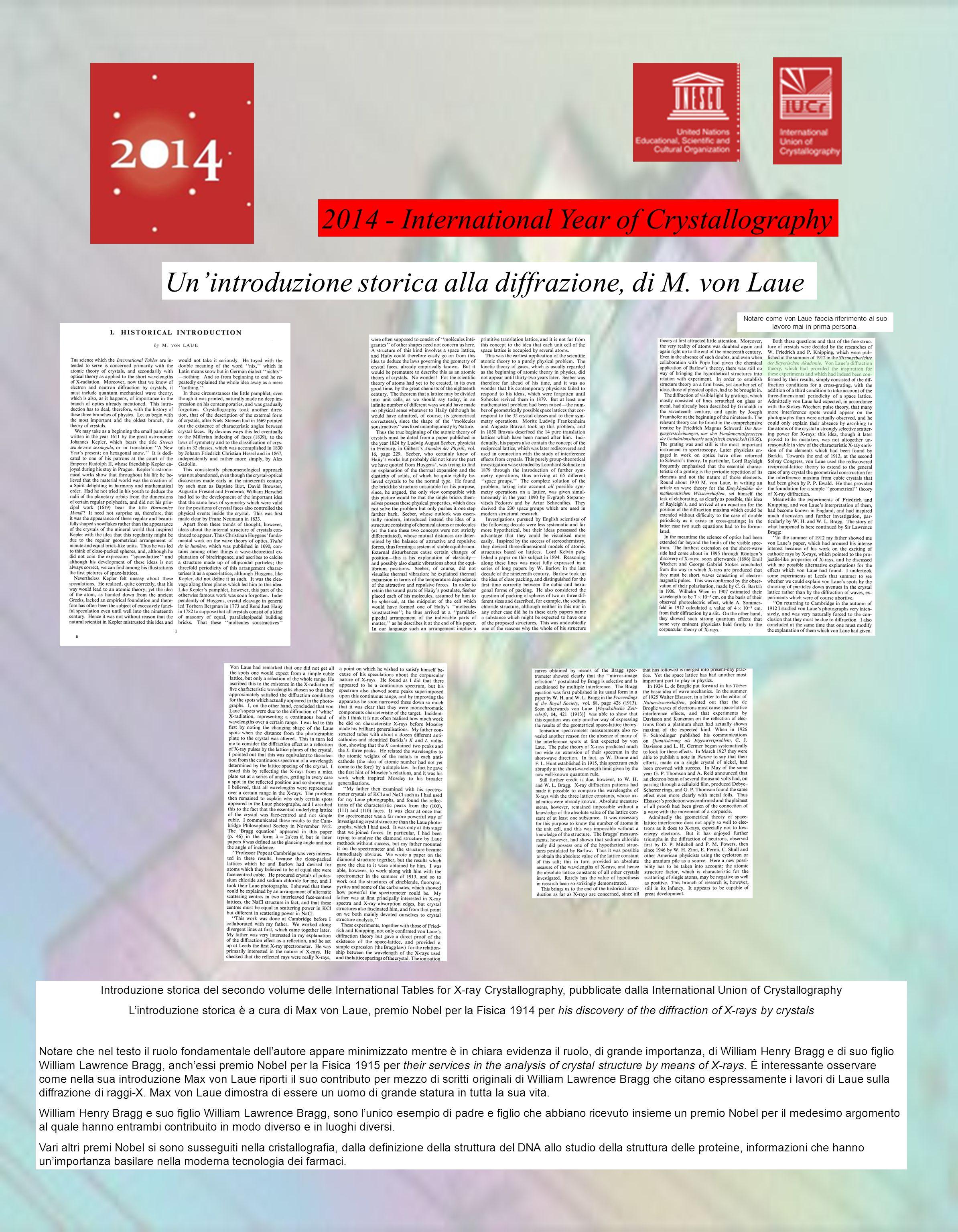 La diffrazione è un fenomeno fisico causato dall'interazione di un'onda con un oggetto di dimensioni opportune Laser rosso dopo un piccolo foro La luce delle stelle subisce diffrazione nel telescopio Nel micro mondo degli atomi ogni oggetto si comporta anche come un'onda quindi si assiste spesso a fenomeni di diffrazione La diffrazione e i premi Nobel per la fisica 1901Wilhelm Conrad Röntgen (primo Nobel per la Fisica) 1914Max von Laue 1915William Henry Bragg 1915William Lawrence Bragg { Cristallografia e la materia biologica, gli attori della soluzione della struttura del DNA Rosalind Elsie Franklin, diffrazione di raggi-x sul DNA, la doppia elica emerge dai suoi esperimenti James Dewey Watson Francis Harry Compton Crick Biologi, Nobel per la medicina Maurice Hugh Frederick Wilkins, fisico, biologia molecolare, ideatore della struttura a elica, Nobel per la Medicina insieme a Crick e Watson La cristallografia delle proteine è un procedimento essenziale per la biologia e la farmacologia Piccoli cristalli di proteine al microscopio Figura di diffrazione di raggi-X da un cristallo di proteine, il quadrato di lato è un ingrandimento dove si vedono i punti prodotti dalla diffrazione e le terne di numeri (indici di Miller) che li caratterizzano Protein Data Bank è una raccolta delle strutture dei cristalli di proteine.