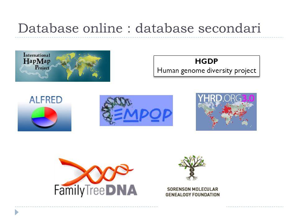 Database online : database secondari HGDP Human genome diversity project HGDP Human genome diversity project
