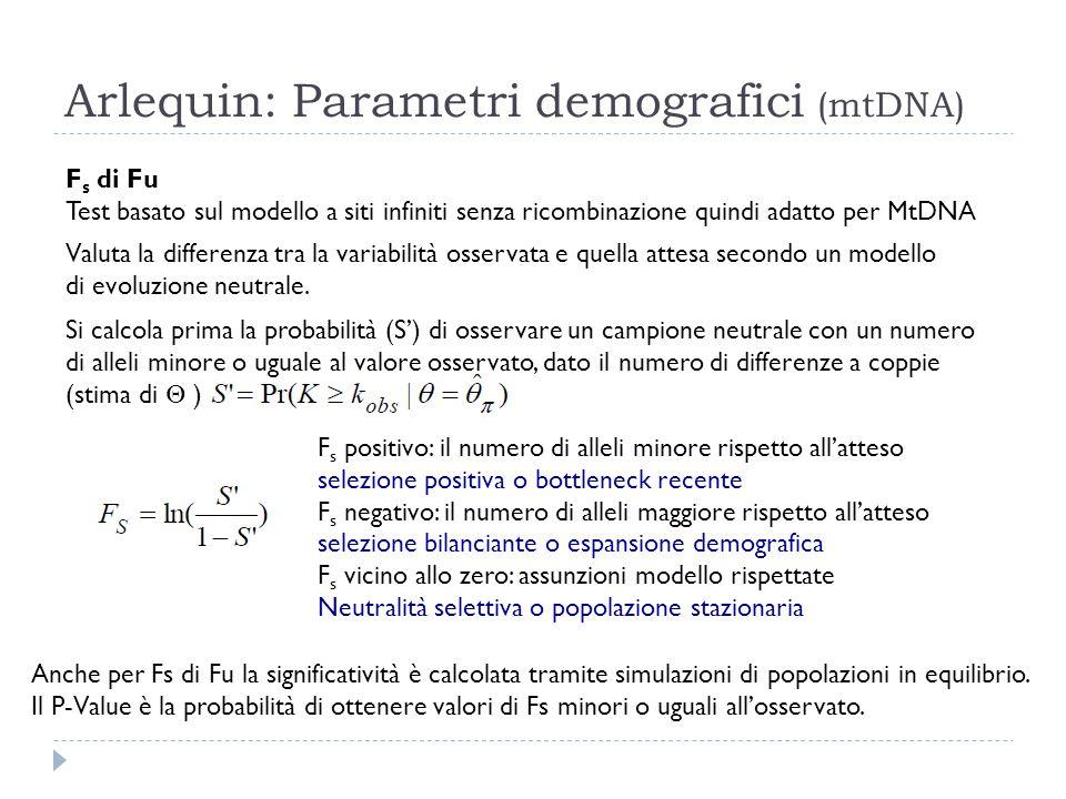 Arlequin: Parametri demografici (mtDNA) F s di Fu Test basato sul modello a siti infiniti senza ricombinazione quindi adatto per MtDNA Valuta la diffe