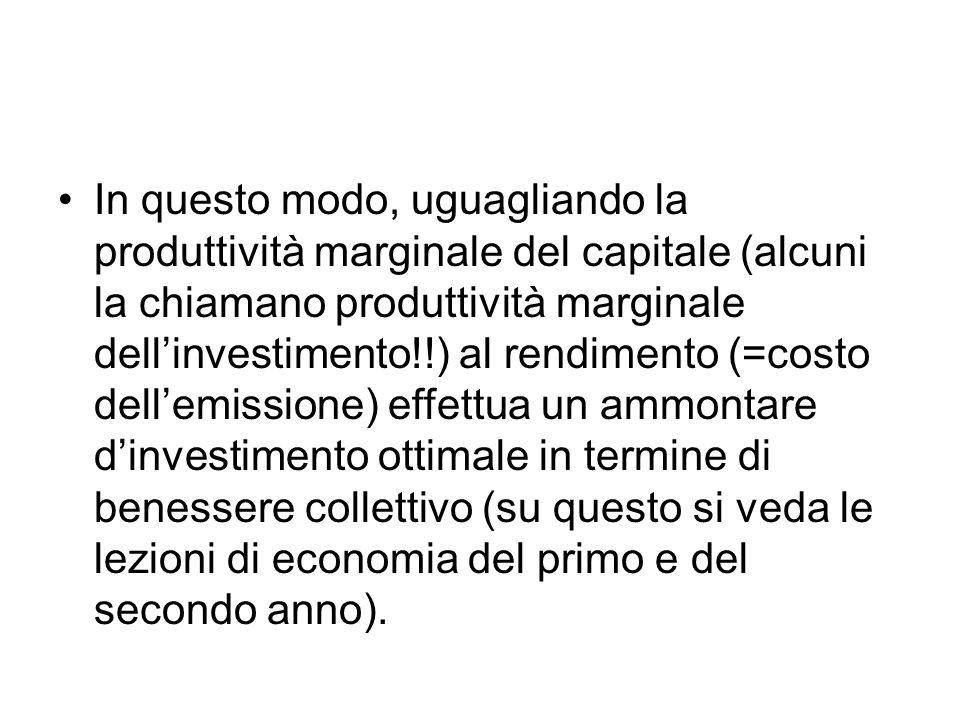 In questo modo, uguagliando la produttività marginale del capitale (alcuni la chiamano produttività marginale dell'investimento!!) al rendimento (=cos