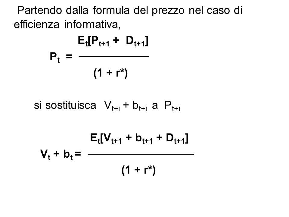Partendo dalla formula del prezzo nel caso di efficienza informativa, E t [P t+1 + D t+1 ] P t = (1 + r*) si sostituisca V t+i + b t+i a P t+i E t [V