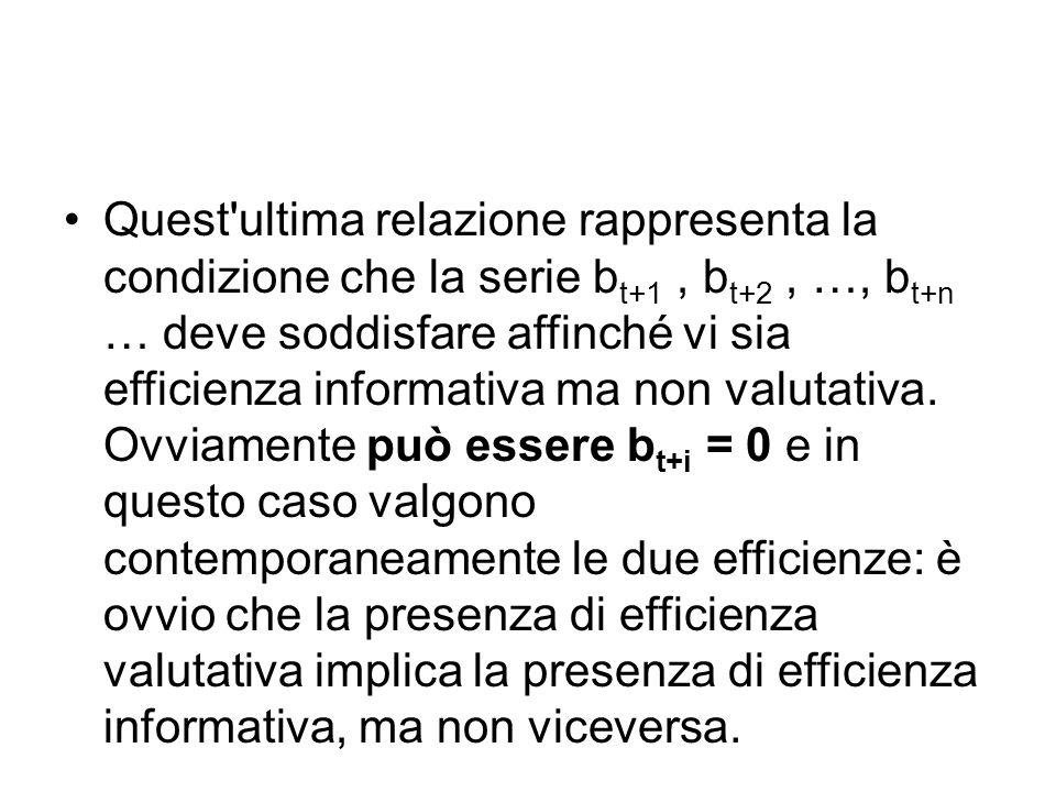 Quest'ultima relazione rappresenta la condizione che la serie b t+1, b t+2, …, b t+n … deve soddisfare affinché vi sia efficienza informativa ma non v