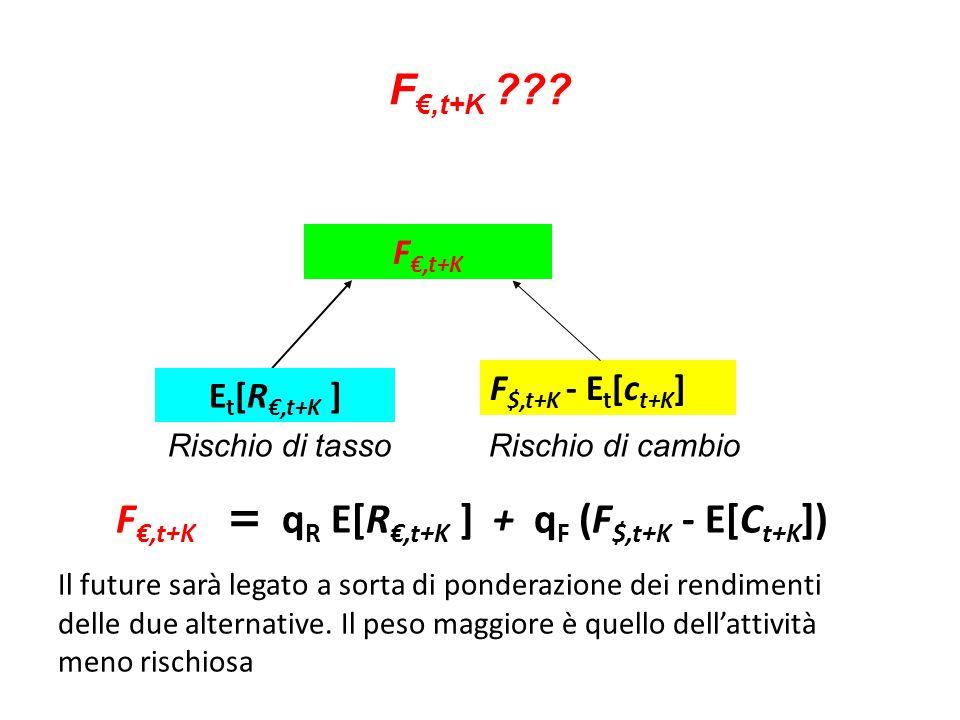 F €,t+K ??? F €,t+K F $,t+K - E t [c t+K ] E t [R €,t+K ] F €,t+K = q R E[R €,t+K ] + q F (F $,t+K - E[C t+K ]) Il future sarà legato a sorta di ponde