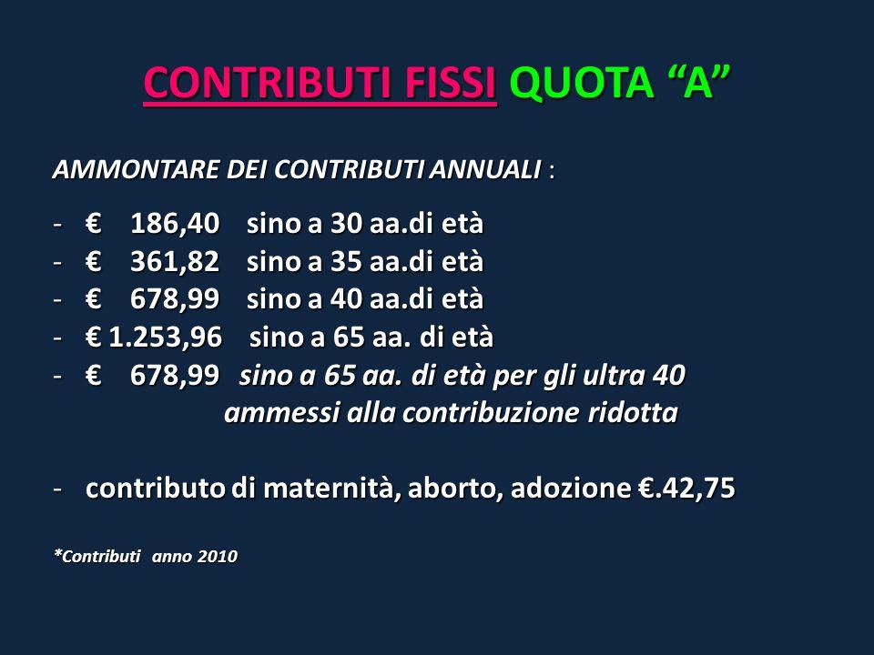 """CONTRIBUTI FISSI QUOTA """"A"""" AMMONTARE DEI CONTRIBUTI ANNUALI : -€ 186,40 sino a 30 aa.di età -€ 361,82 sino a 35 aa.di età -€ 678,99 sino a 40 aa.di et"""