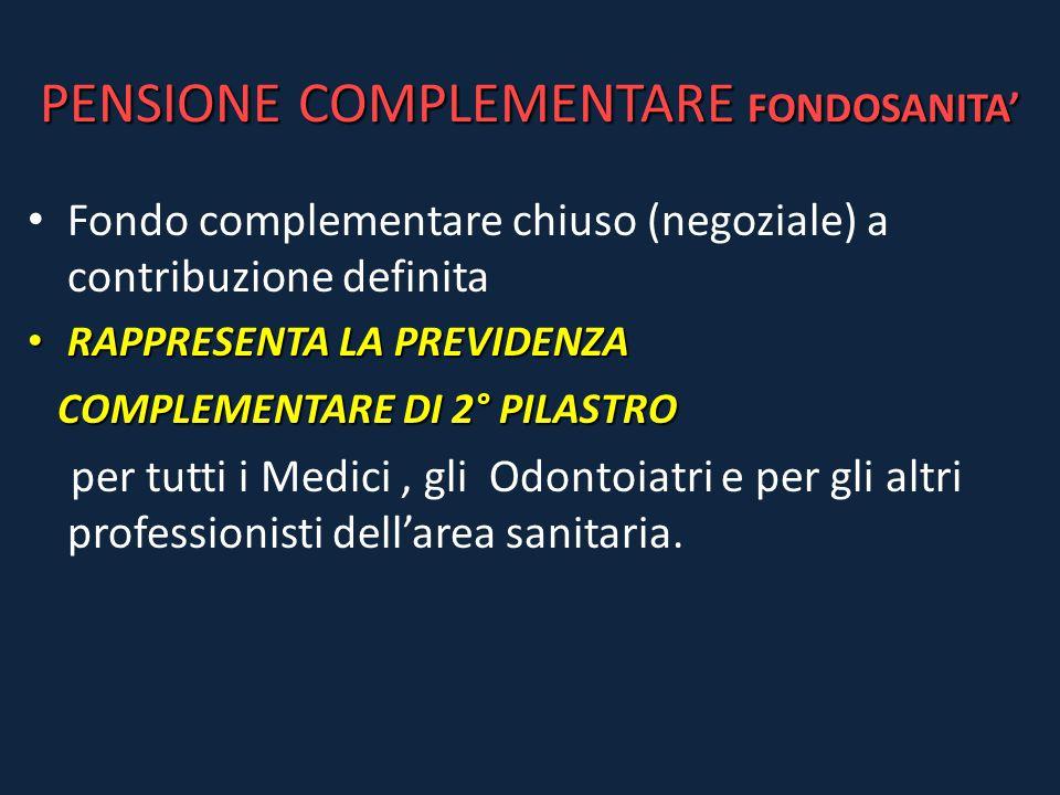 PENSIONE COMPLEMENTARE FONDOSANITA' Fondo complementare chiuso (negoziale) a contribuzione definita RAPPRESENTA LA PREVIDENZA RAPPRESENTA LA PREVIDENZ