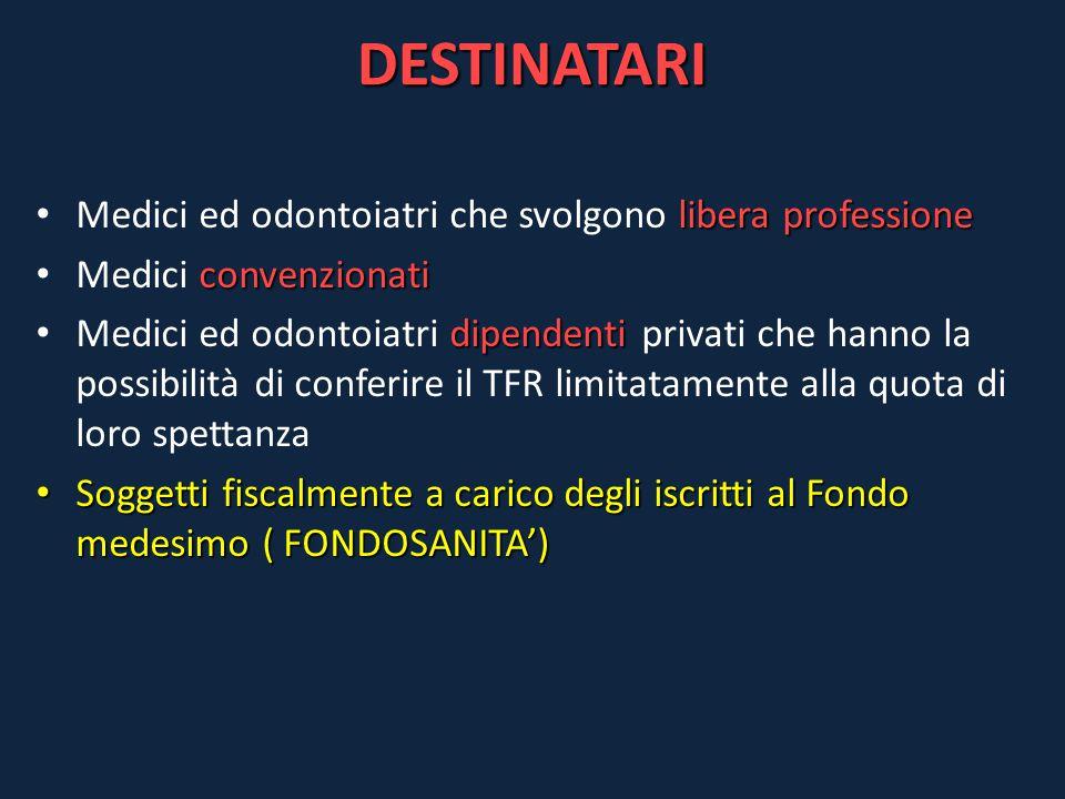 DESTINATARI libera professione Medici ed odontoiatri che svolgono libera professione convenzionati Medici convenzionati dipendenti Medici ed odontoiat