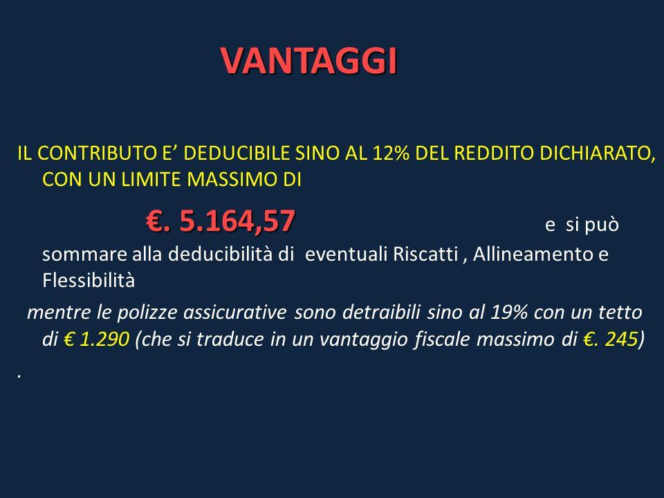 VANTAGGI IL CONTRIBUTO E' DEDUCIBILE SINO AL 12% DEL REDDITO DICHIARATO, CON UN LIMITE MASSIMO DI €. 5.164,57 €. 5.164,57 e si può sommare alla deduci