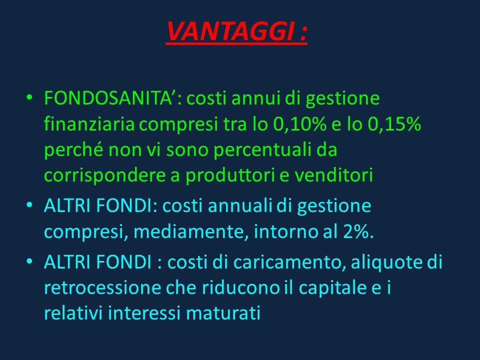 VANTAGGI : FONDOSANITA': costi annui di gestione finanziaria compresi tra lo 0,10% e lo 0,15% perché non vi sono percentuali da corrispondere a produt