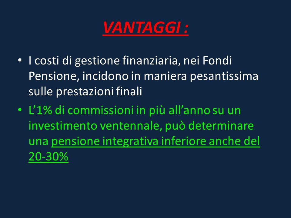 VANTAGGI : I costi di gestione finanziaria, nei Fondi Pensione, incidono in maniera pesantissima sulle prestazioni finali L'1% di commissioni in più a