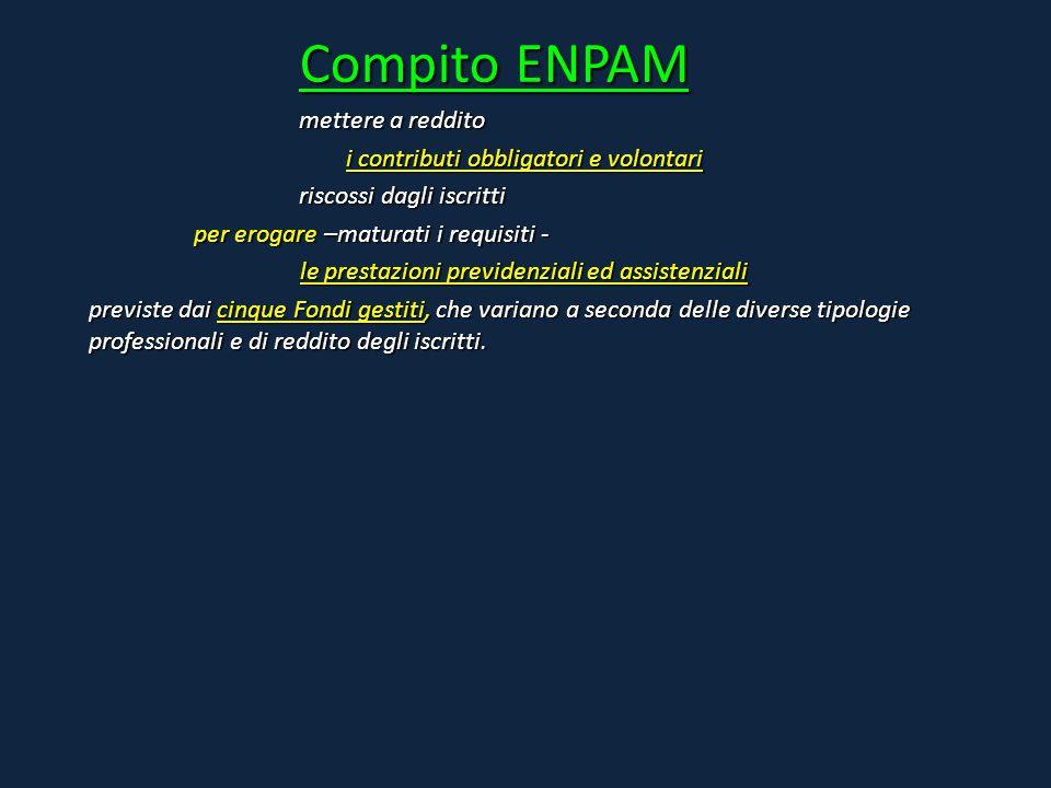 Compito ENPAM mettere a reddito i contributi obbligatori e volontari riscossi dagli iscritti per erogare –maturati i requisiti - le prestazioni previd