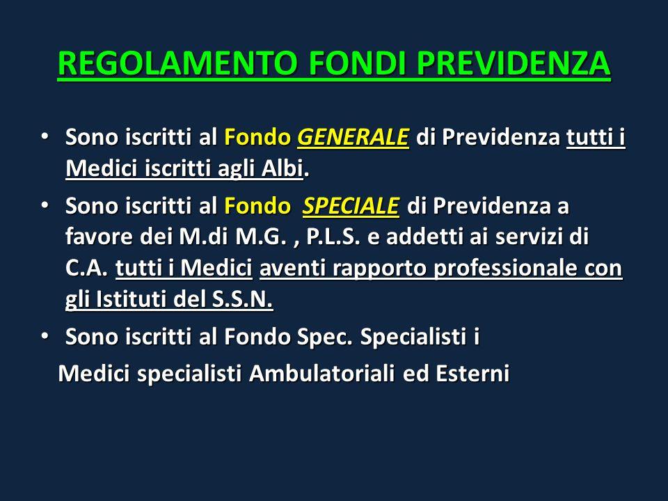 REGOLAMENTO FONDI PREVIDENZA Sono iscritti al Fondo GENERALE di Previdenza tutti i Medici iscritti agli Albi. Sono iscritti al Fondo GENERALE di Previ