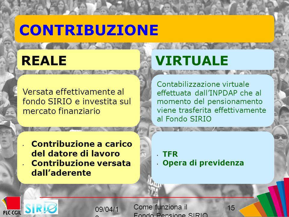 15 CONTRIBUZIONE REALEVIRTUALE Versata effettivamente al fondo SIRIO e investita sul mercato finanziario Contabilizzazione virtuale effettuata dall'INPDAP che al momento del pensionamento viene trasferita effettivamente al Fondo SIRIO Contribuzione a carico del datore di lavoro Contribuzione versata dall'aderente TFR Opera di previdenza 09/04/1 3 Come funziona il Fondo Pensione SIRIO perché come, convenienza