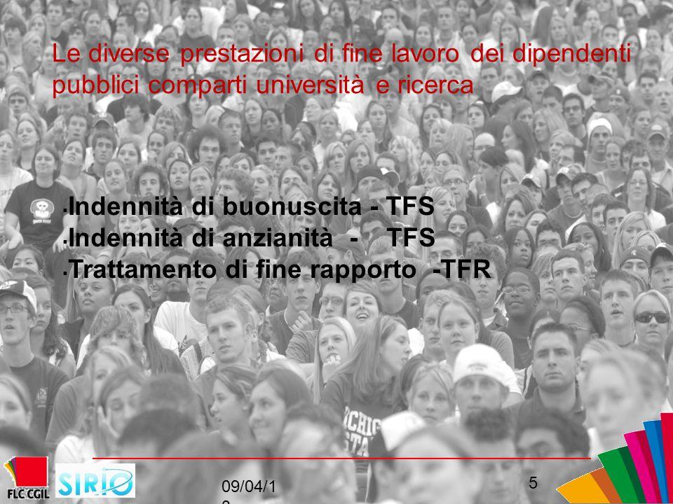 Le diverse prestazioni di fine lavoro dei dipendenti pubblici comparti università e ricerca  Indennità di buonuscita - TFS  Indennità di anzianità - TFS  Trattamento di fine rapporto -TFR 09/04/1 3 5