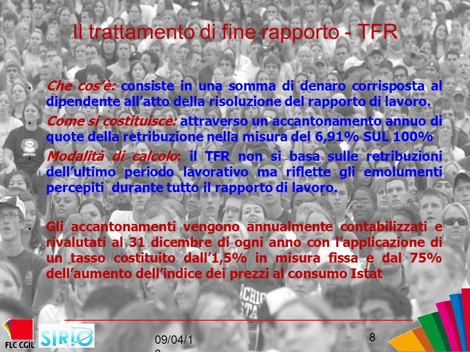 Il trattamento di fine rapporto - TFR  Che cos'è: consiste in una somma di denaro corrisposta al dipendente all'atto della risoluzione del rapporto di lavoro.