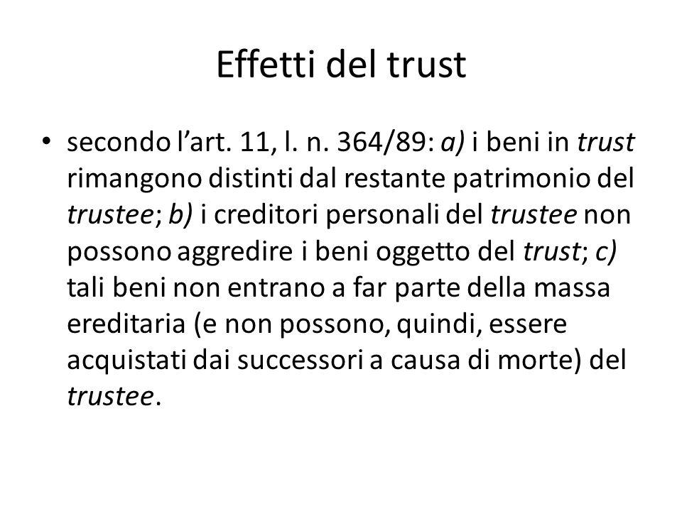 Effetti del trust secondo l'art.11, l. n.