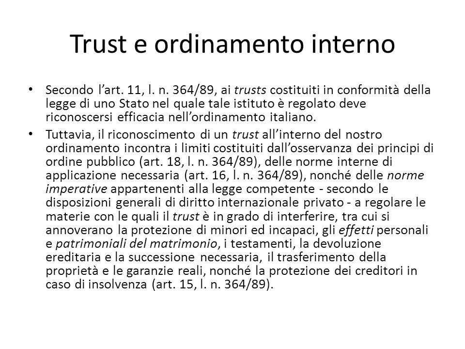 Trust e ordinamento interno Secondo l'art.11, l. n.