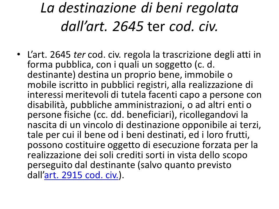 La destinazione di beni regolata dall'art.2645 ter cod.
