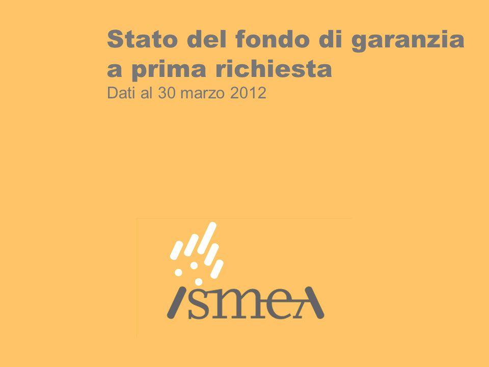 Stato del fondo di garanzia a prima richiesta Dati al 30 marzo 2012