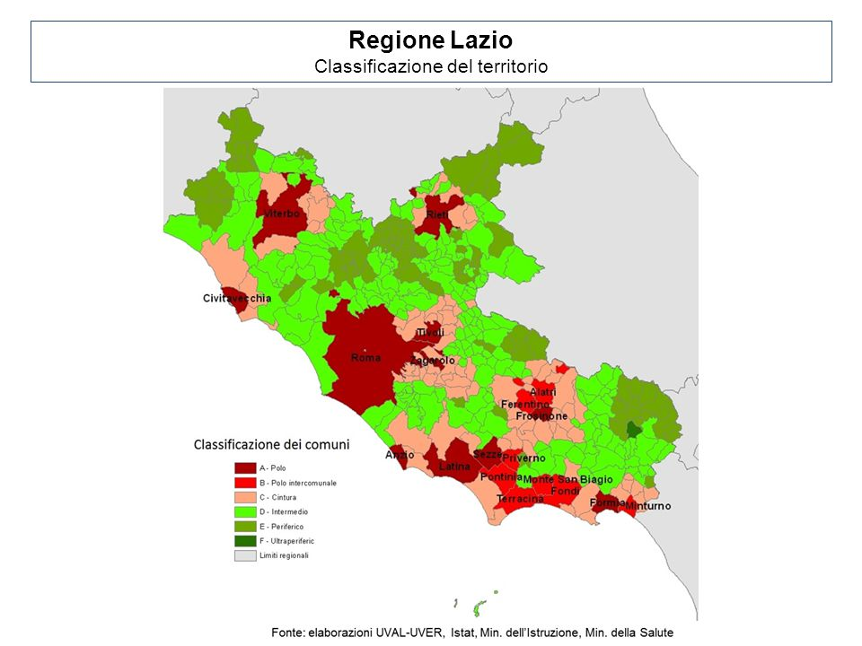 Regione Lazio Classificazione del territorio