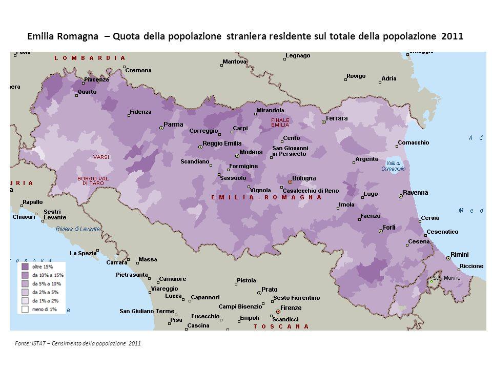 Emilia Romagna – Quota della popolazione straniera residente sul totale della popolazione 2011 Fonte: ISTAT – Censimento della popolazione 2011