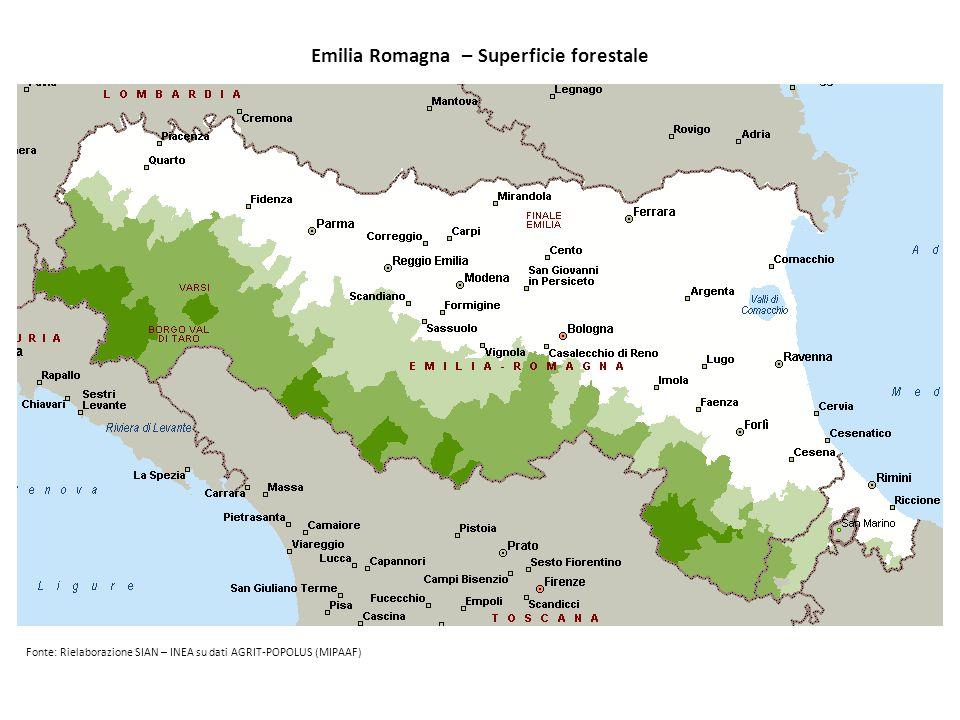 Emilia Romagna – Superficie forestale Fonte: Rielaborazione SIAN – INEA su dati AGRIT-POPOLUS (MIPAAF)