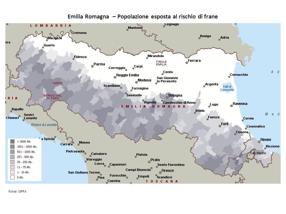 Emilia Romagna – Popolazione esposta al rischio di frane Fonte: ISPRA