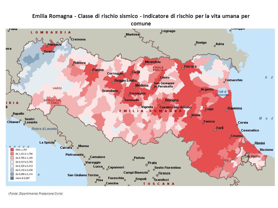 Emilia Romagna - Classe di rischio sismico - Indicatore di rischio per la vita umana per comune (Fonte: Dipartimento Protezione Civile)