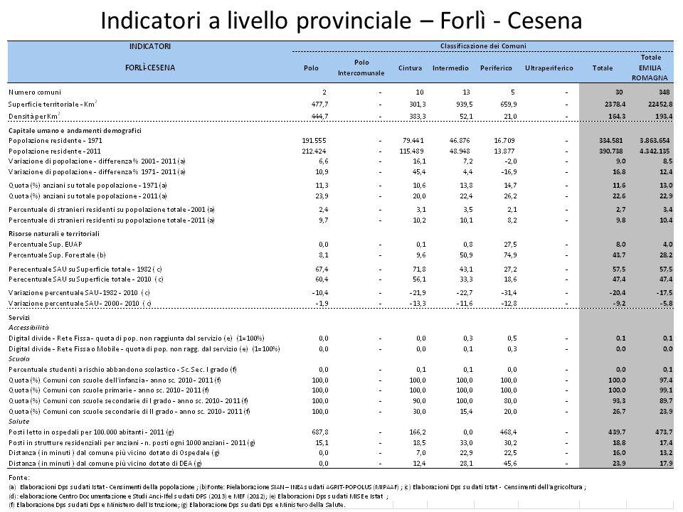 Indicatori a livello provinciale – Forlì - Cesena