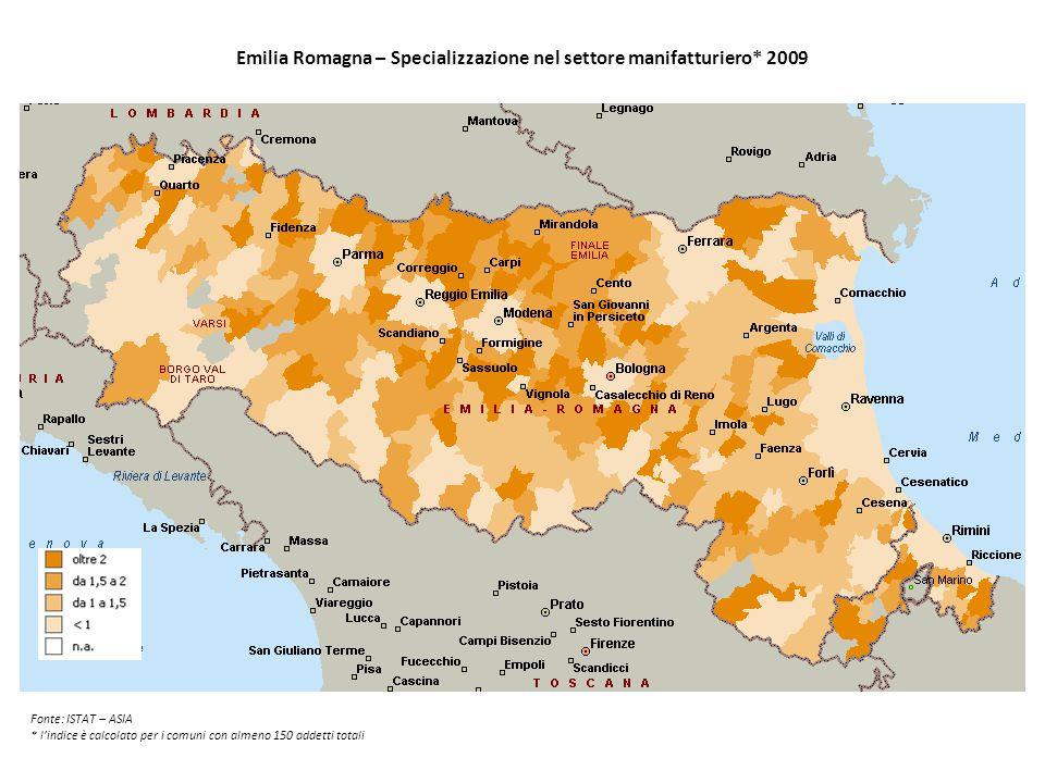 Emilia Romagna – Specializzazione nel settore manifatturiero* 2009 Fonte: ISTAT – ASIA * l'indice è calcolato per i comuni con almeno 150 addetti tota