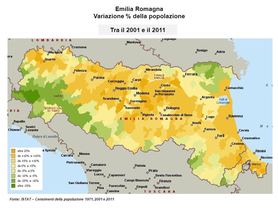 Emilia Romagna Variazione % della popolazione Fonte: ISTAT – Censimenti della popolazione 1971, 2001 e 2011 Tra il 2001 e il 2011