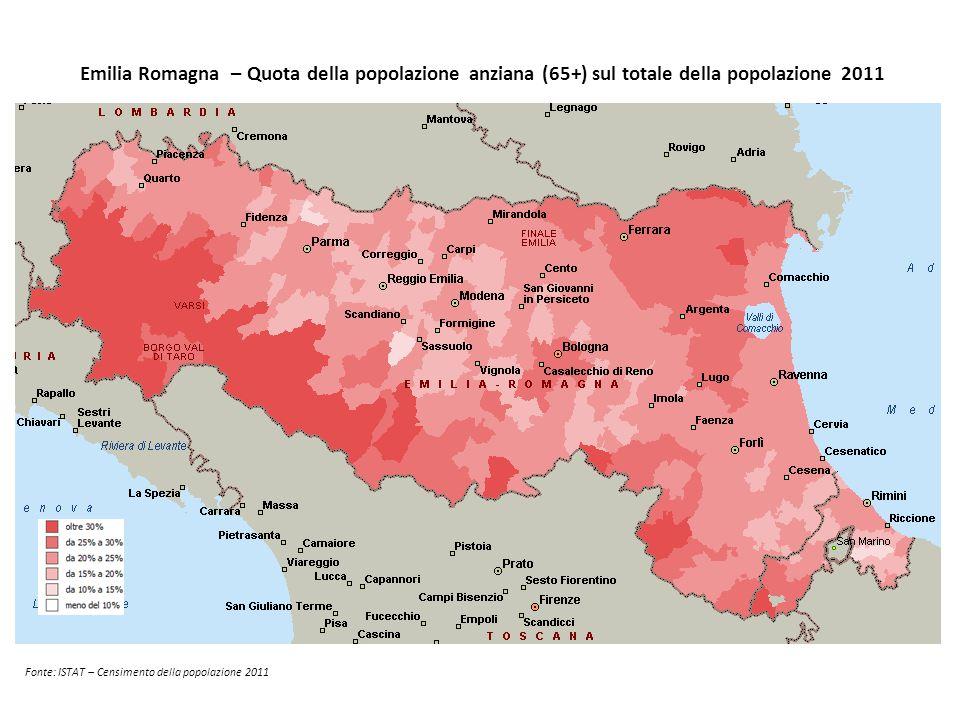 Emilia Romagna – Quota della popolazione anziana (65+) sul totale della popolazione 2011 Fonte: ISTAT – Censimento della popolazione 2011