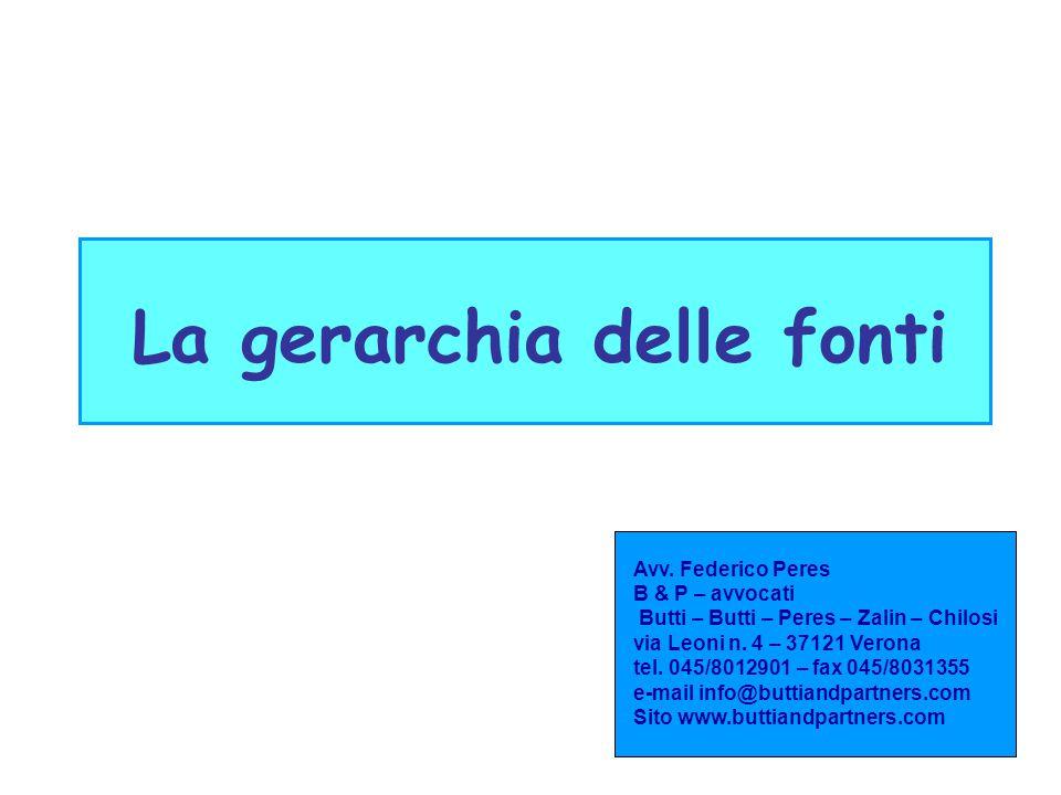 La gerarchia delle fonti Avv. Federico Peres B & P – avvocati Butti – Butti – Peres – Zalin – Chilosi via Leoni n. 4 – 37121 Verona tel. 045/8012901 –