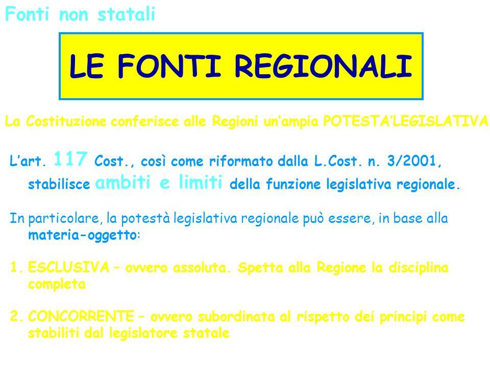 Fonti non statali LE FONTI REGIONALI La Costituzione conferisce alle Regioni un'ampia POTESTA'LEGISLATIVA L'art. 117 Cost., così come riformato dalla