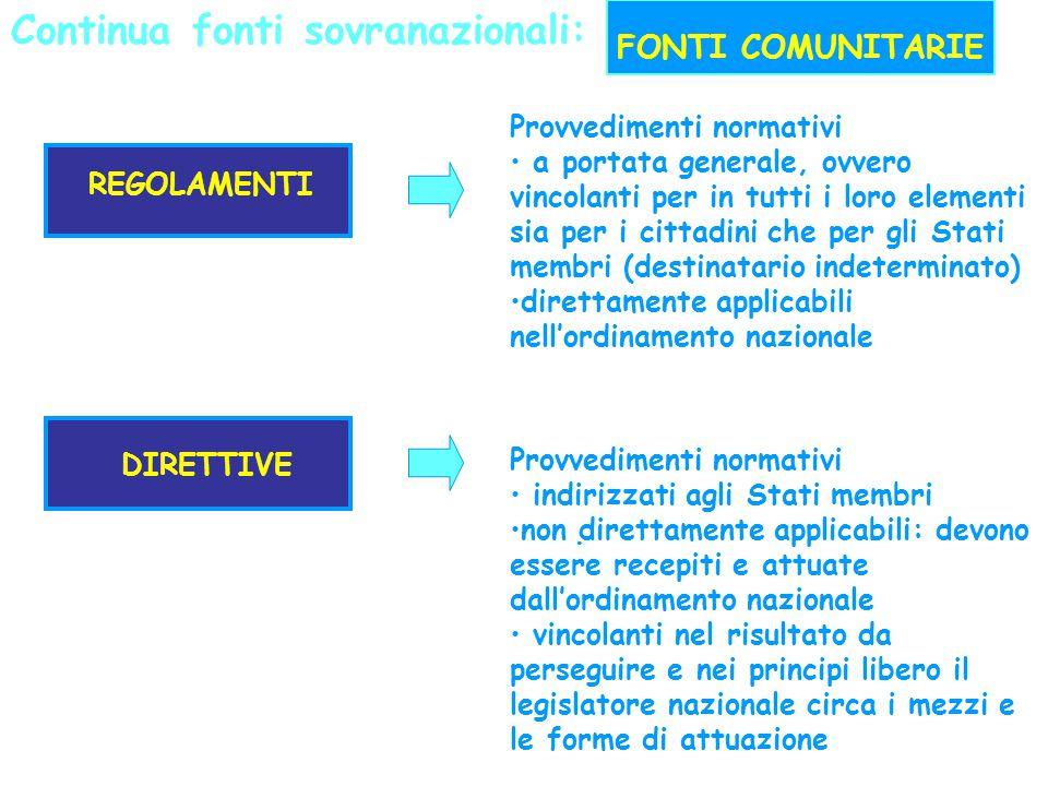 Continua fonti sovranazionali:. FONTI COMUNITARIE REGOLAMENTI Provvedimenti normativi a portata generale, ovvero vincolanti per in tutti i loro elemen