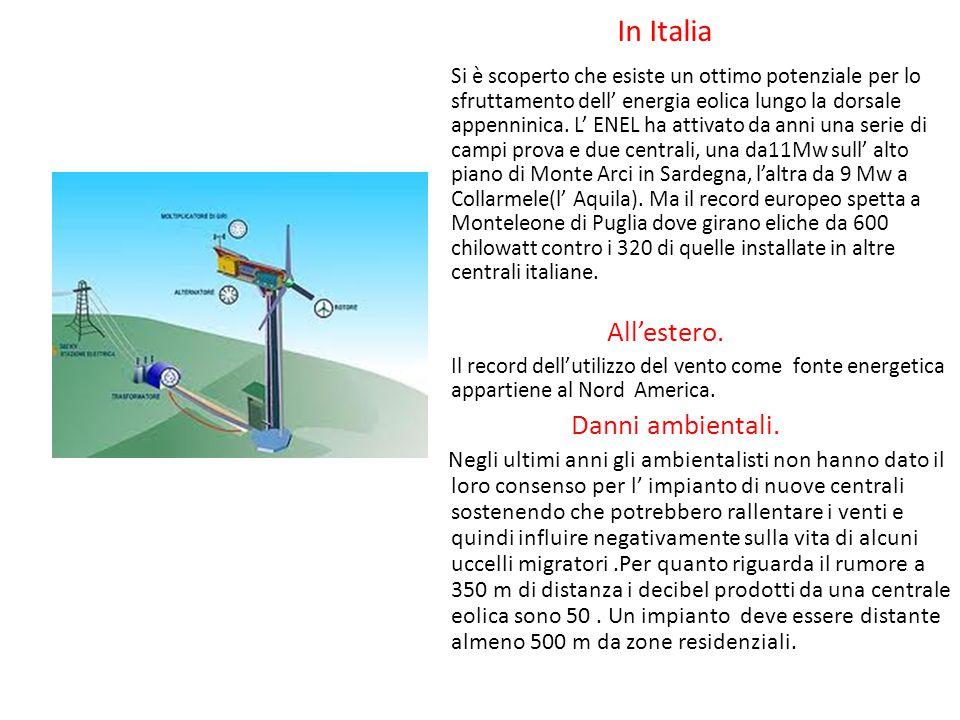 L' energia eolica. L'energia eolica, presenta lo svantaggio di poter essere sfruttata solo in località, dove la velocità media dell'aria è almeno di 2