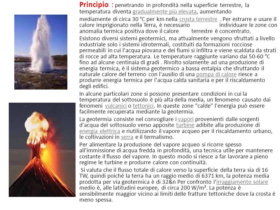L' energia geotermica. Si basa sui principi della geotermia ovvero sullo sfruttamento del calore naturale della Terra dovuto all'energia termica rilas