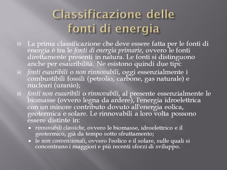  La prima classificazione che deve essere fatta per le fonti di energia è tra le fonti di energia primarie, ovvero le fonti direttamente presenti in