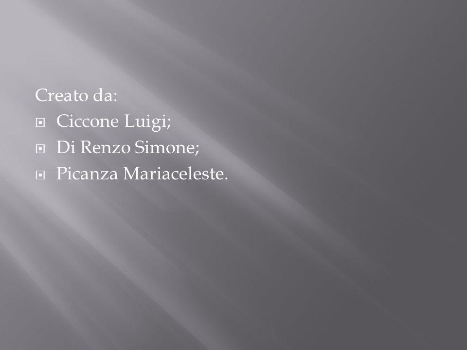 Creato da:  Ciccone Luigi;  Di Renzo Simone;  Picanza Mariaceleste.