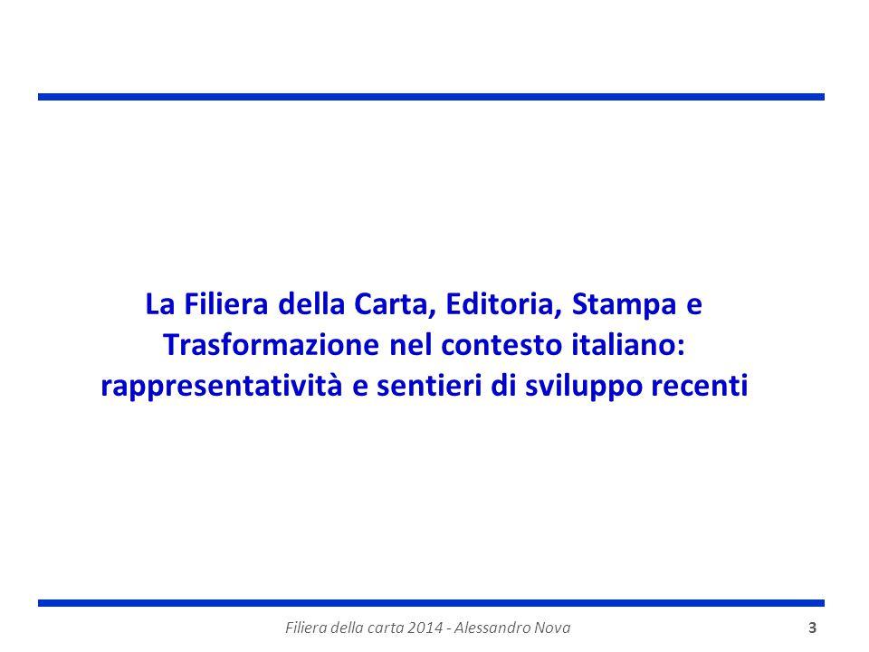 3 La Filiera della Carta, Editoria, Stampa e Trasformazione nel contesto italiano: rappresentatività e sentieri di sviluppo recenti Filiera della carta 2014 - Alessandro Nova