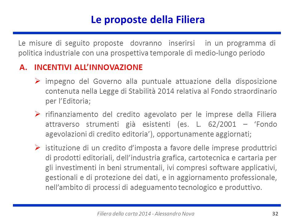 Le proposte della Filiera Filiera della carta 2014 - Alessandro Nova32 Le misure di seguito proposte dovranno inserirsi in un programma di politica in