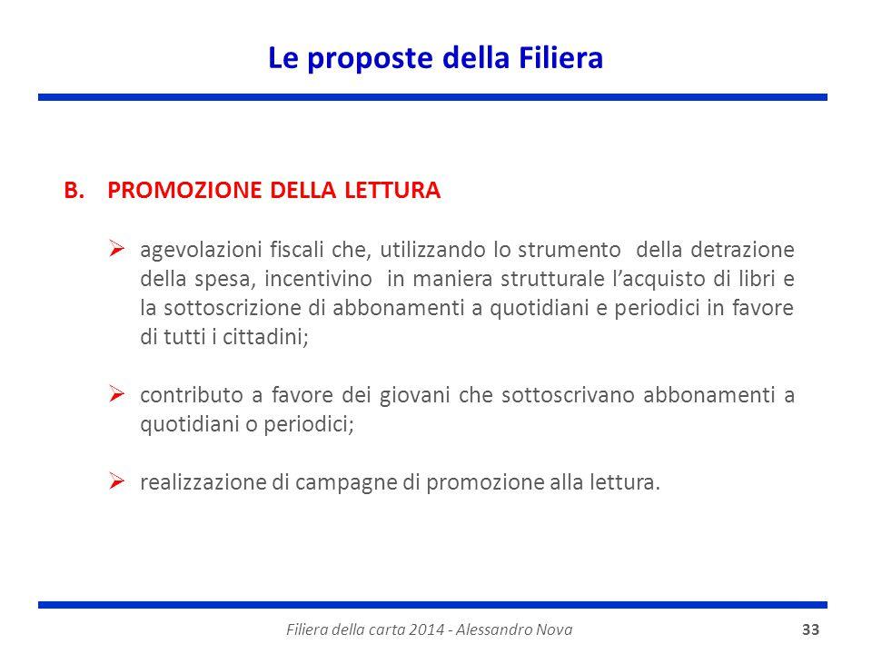 Le proposte della Filiera Filiera della carta 2014 - Alessandro Nova33 B.PROMOZIONE DELLA LETTURA  agevolazioni fiscali che, utilizzando lo strumento