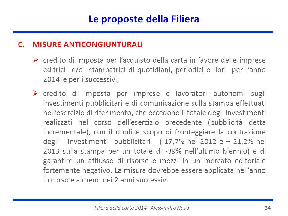 Le proposte della Filiera Filiera della carta 2014 - Alessandro Nova34 C.MISURE ANTICONGIUNTURALI  credito di imposta per l'acquisto della carta in f