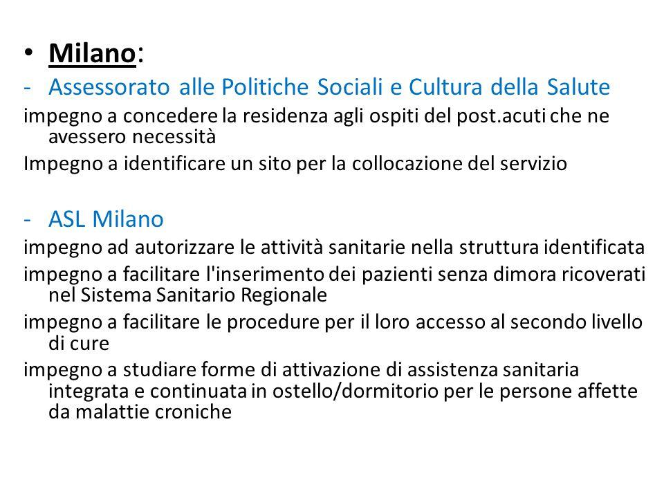 Milano : -Assessorato alle Politiche Sociali e Cultura della Salute impegno a concedere la residenza agli ospiti del post.acuti che ne avessero necess