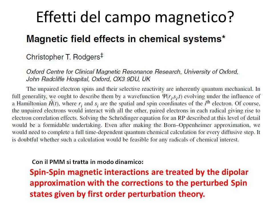 Effetti del campo magnetico.
