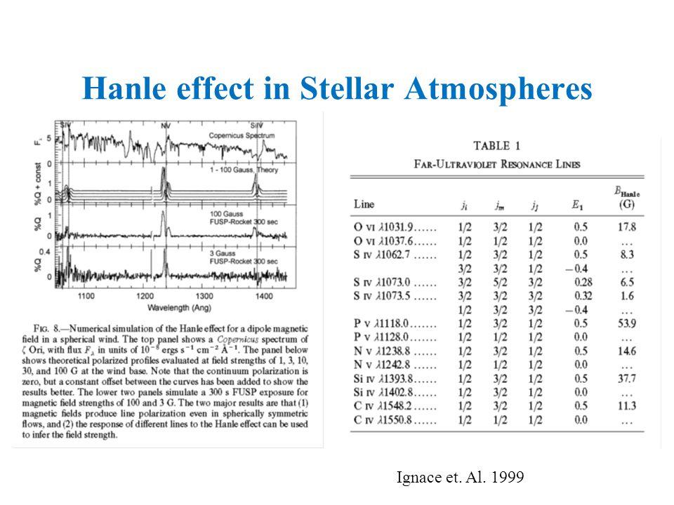 Hanle effect in Stellar Atmospheres Ignace et. Al. 1999