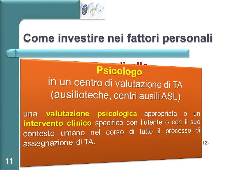 Come investire nei fattori personali Macrolivello OMS  Sviluppare le categorie dei fattori personali all'interno dell'ICFMicrolivello Assumere gli ps