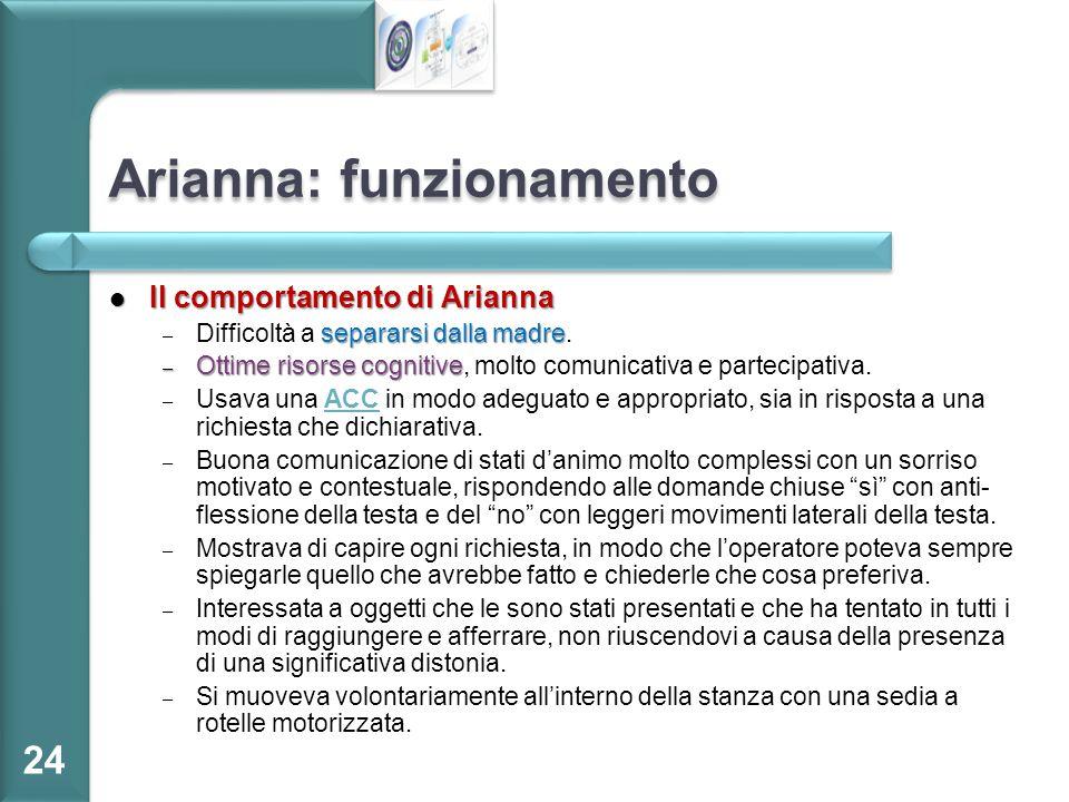 Arianna: funzionamento Il comportamento di Arianna Il comportamento di Arianna separarsi dalla madre – Difficoltà a separarsi dalla madre. – Ottime ri