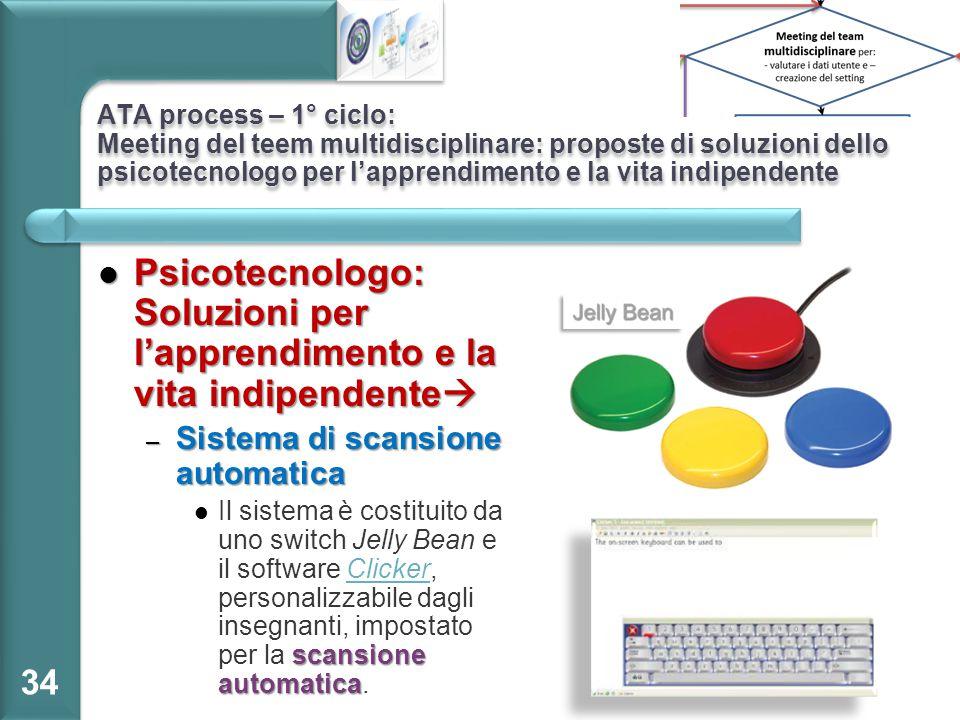 ATA process – 1° ciclo: Meeting del teem multidisciplinare: proposte di soluzioni dello psicotecnologo per l'apprendimento e la vita indipendente Psic